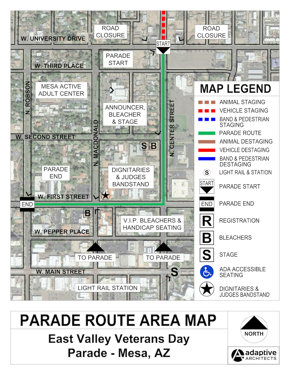2019 East Valley Veterans Day Parade Route Map